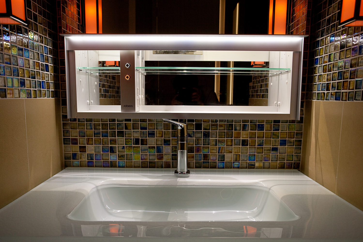 Modern bath with 1x1 glass mosaics from Lewis Home and Floor